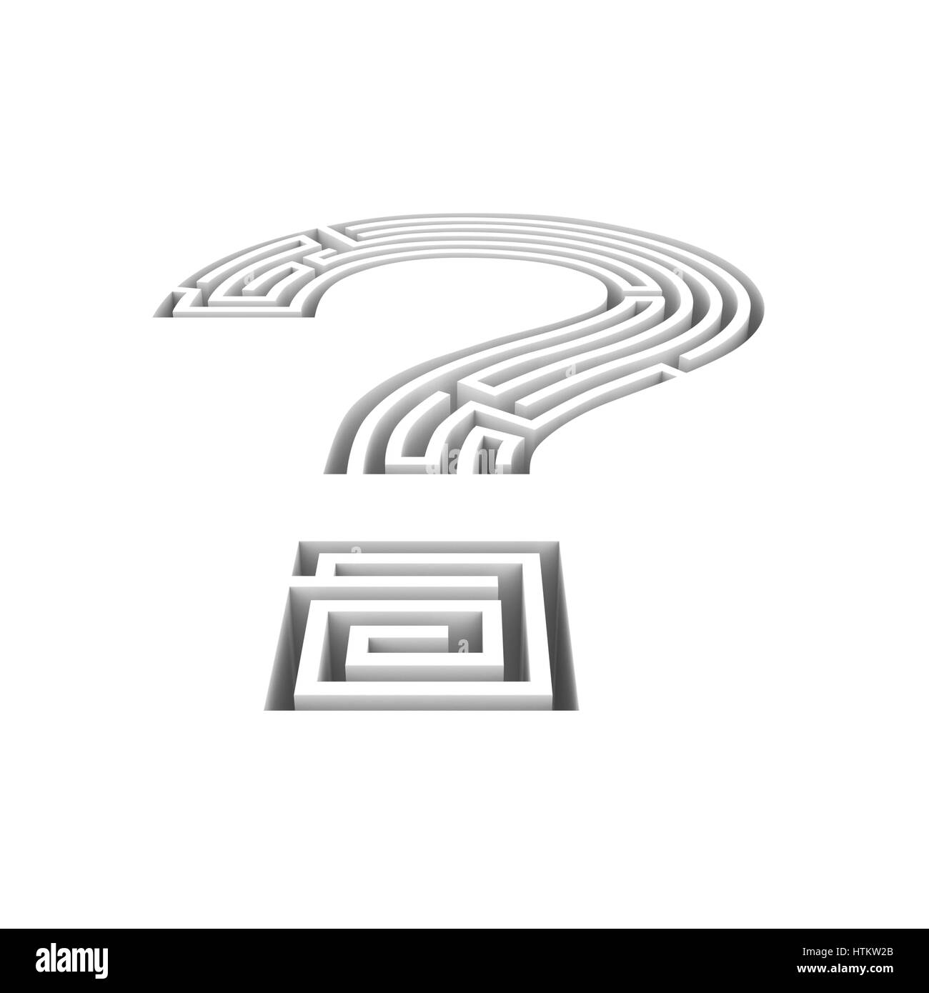 Question maze hole / 3D illustration of question mark maze shaped hole in floor - Stock Image