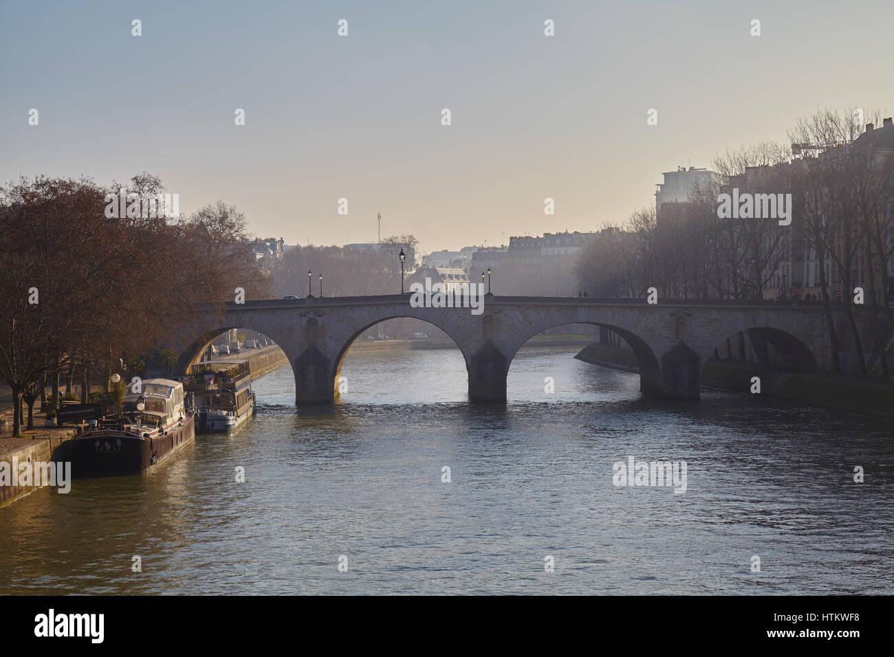 View of one of the bridges across the Seine, the Pont Marie in Paris, Ile-de-France, France - Stock Image