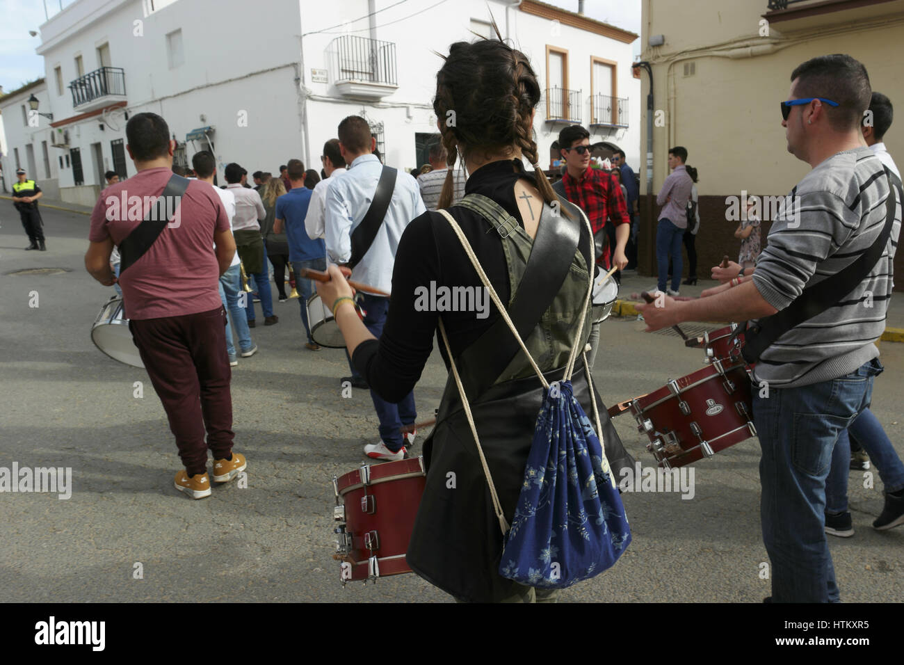 Parade with music in Trigueros, Huelva Stock Photo