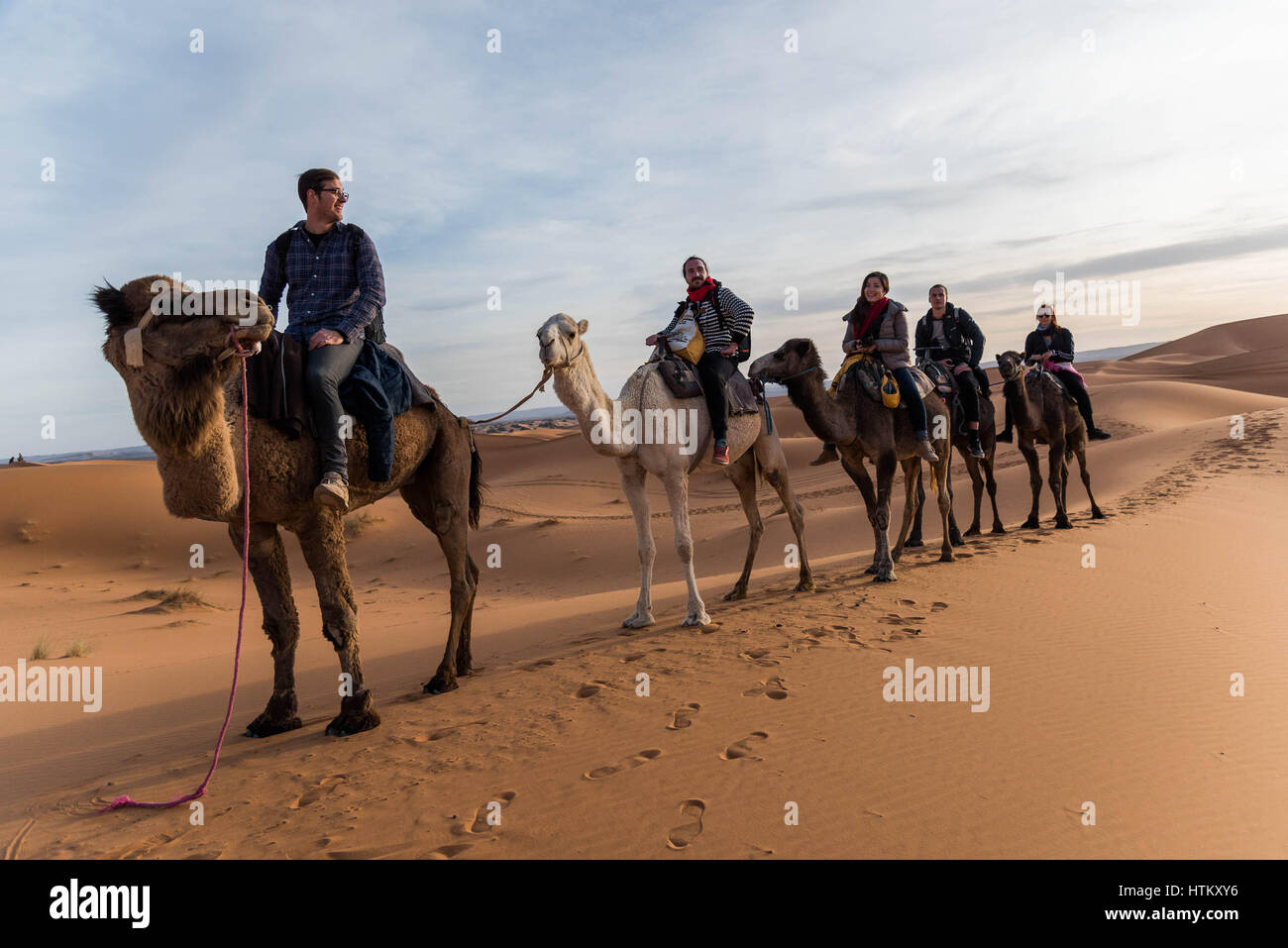 Tourists during a camel ride - Stock Image