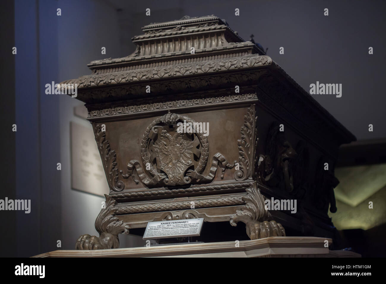 Sarcophagus of the Emperor Ferdinand I of Austria (1793 - 1875) in the Kaisergruft (Imperial Crypt) in Vienna, Austria. - Stock Image