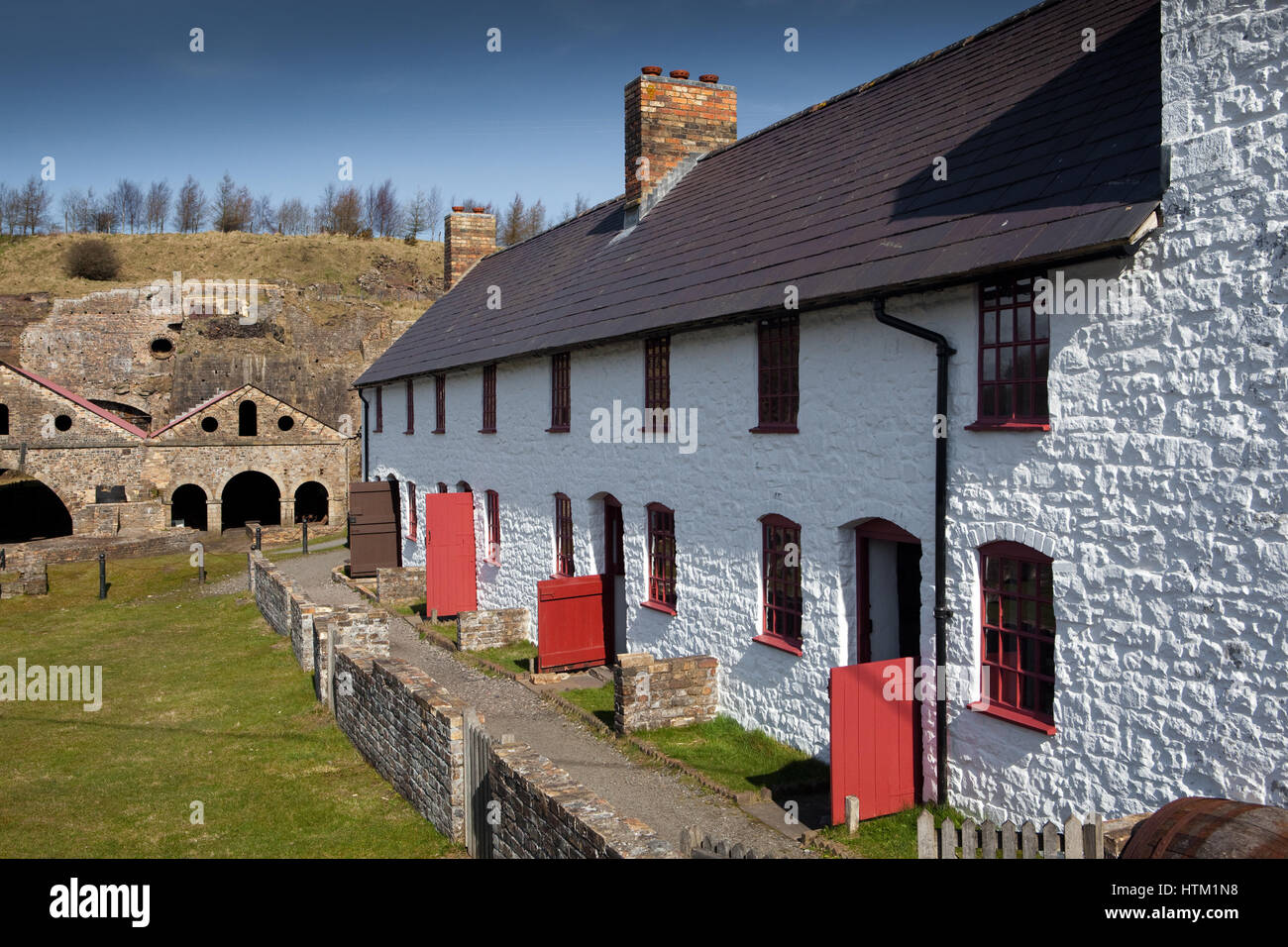 Stack Square cottages at Blaenavon Ironworks, Blaenavon, a World Heritage Site in Wales, United Kingdom Stock Photo