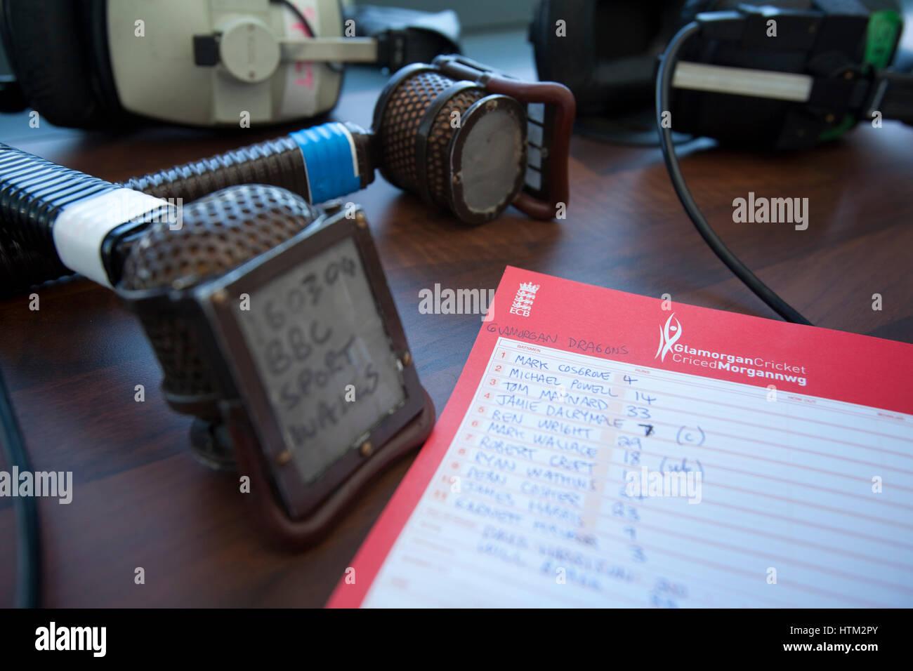 Commentator mic at Glamorgan County Cricket Club, Wales, United Kingdom - Stock Image