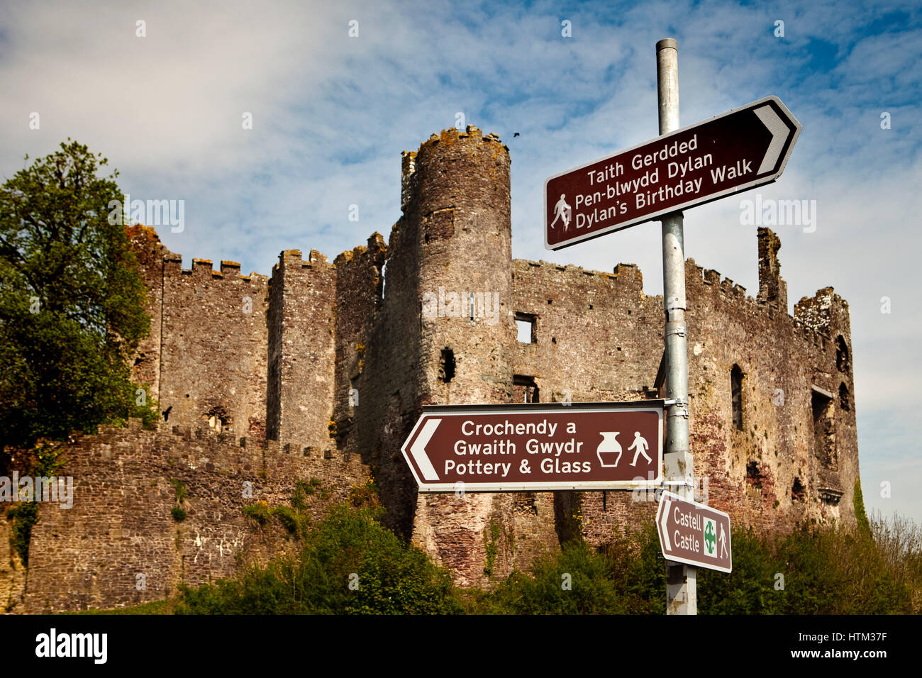 Laugharne Castle, Laugharne, Carmarthenshire, Wales, Great Britain - Stock Image
