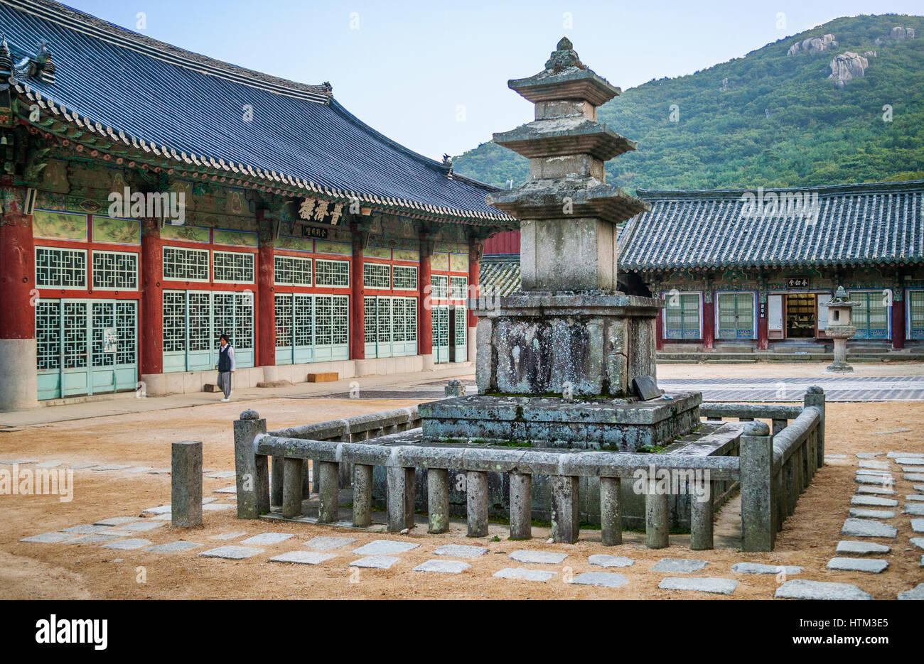 South Korea, Cheongnyong-dong, Busan, Beomeosa temple, ancient 9th century Three Story Stone Pagoda - Stock Image