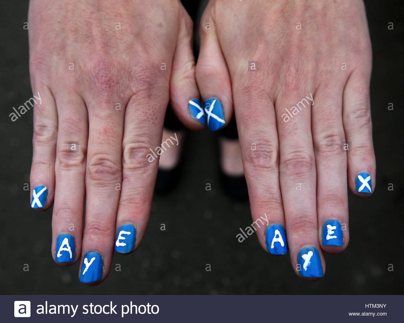 Trisha Devine With Her Nails Painted Outside Bannockburn Polling ...