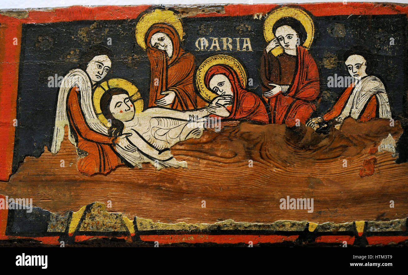 Beam of the Passion, ca. 1192-1220. Detail depicting the Lamentation of Christ. Romanesque. Anonymous. Catalan origin. - Stock Image
