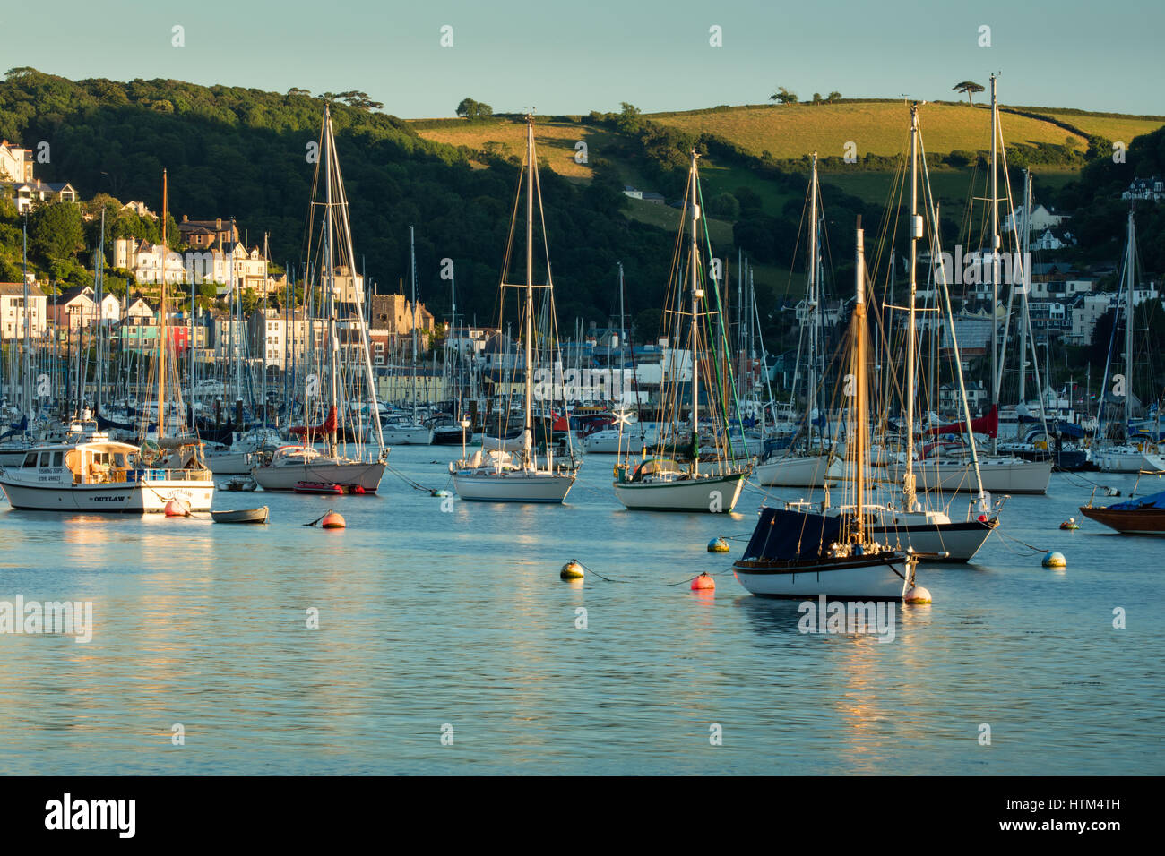 Boats anchored in the River Dart at Kingswear, Devon, England, UK - Stock Image