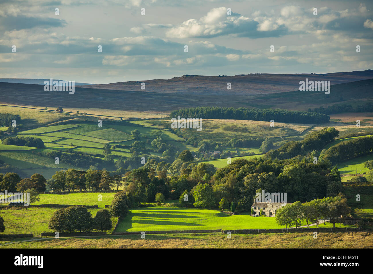 Callow Bank & Stanage Edge from Millstone Edge, nr Hathersage, Derbyshire Peaks District National Park, England, - Stock Image