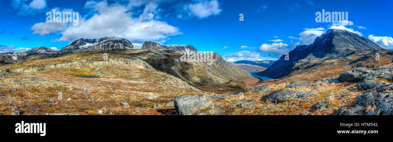 Sights of the Jotunheimen National Park when you do the Besseggen Ridge Hike. - Stock Image