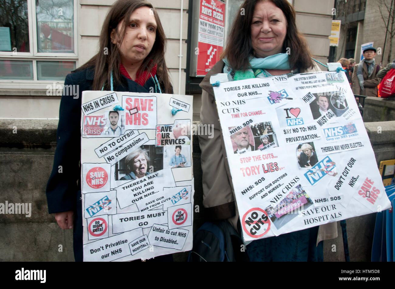 Thousands of health workers and members of the public protested against austerity in the health service.Mother, - Stock Image
