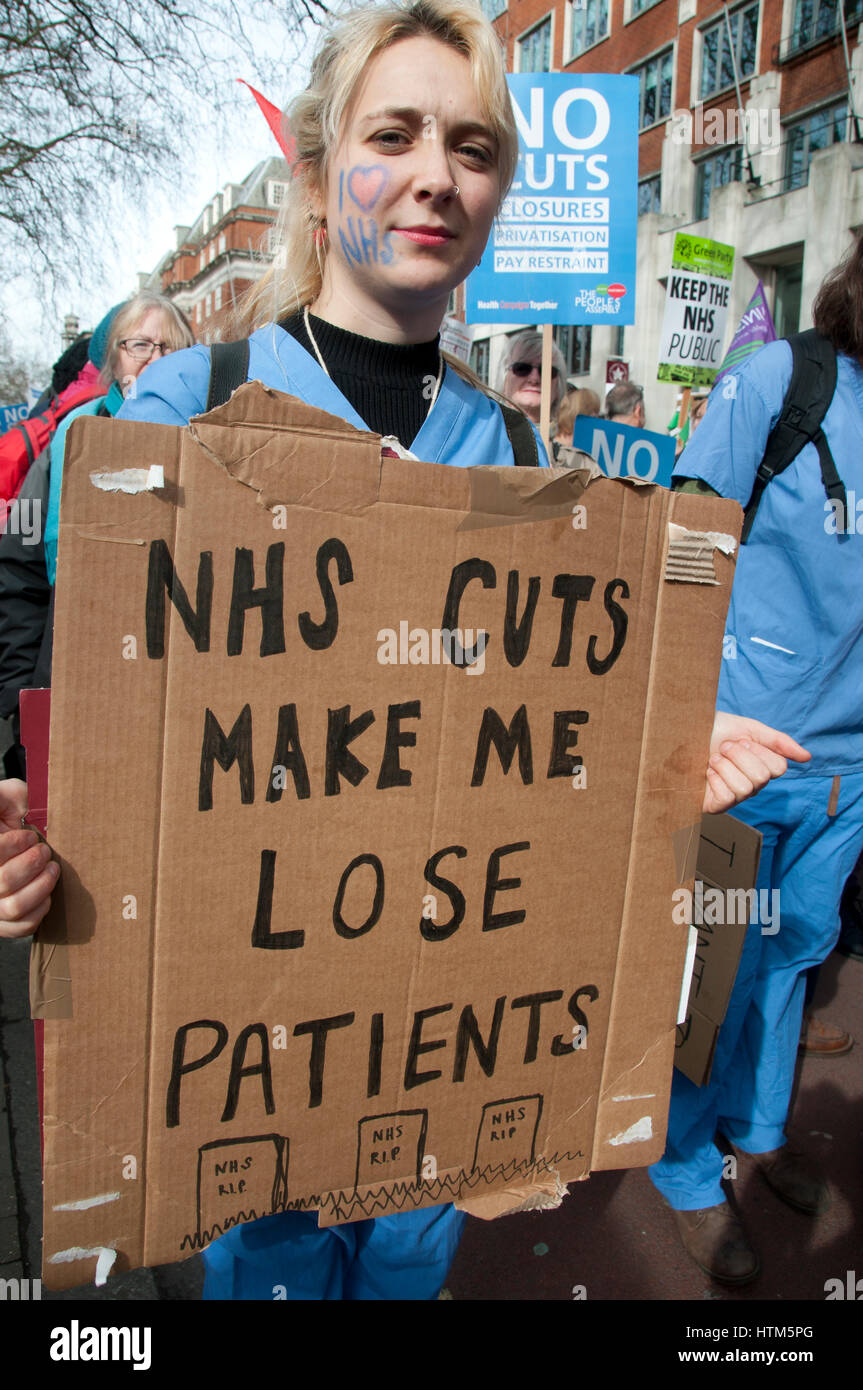 Central London. March 3rd 2017 . Thousands of health workers, activists and members of the public protested against - Stock Image