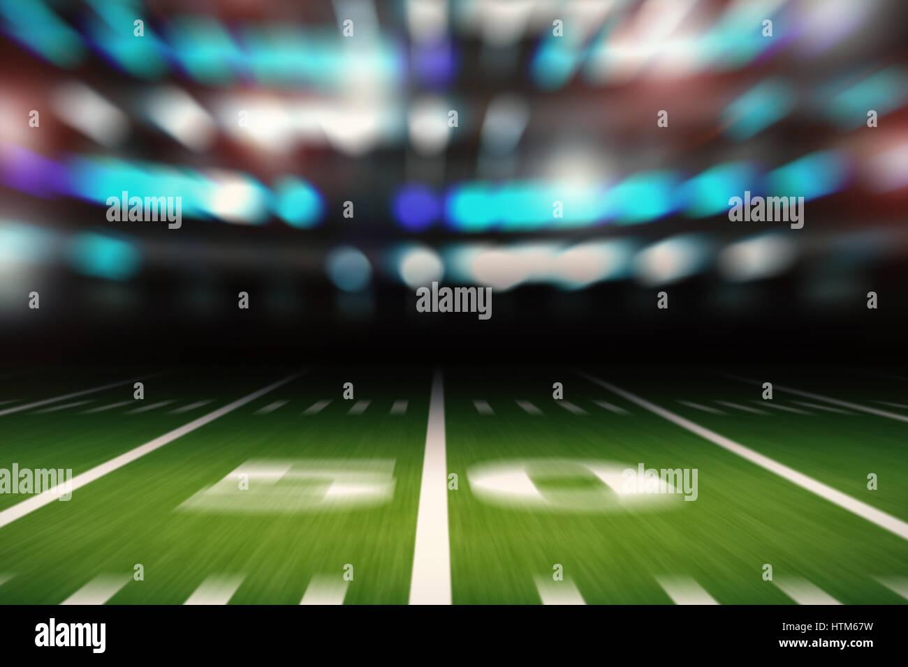 3d rendering empty american football stadium blurred background - Stock Image