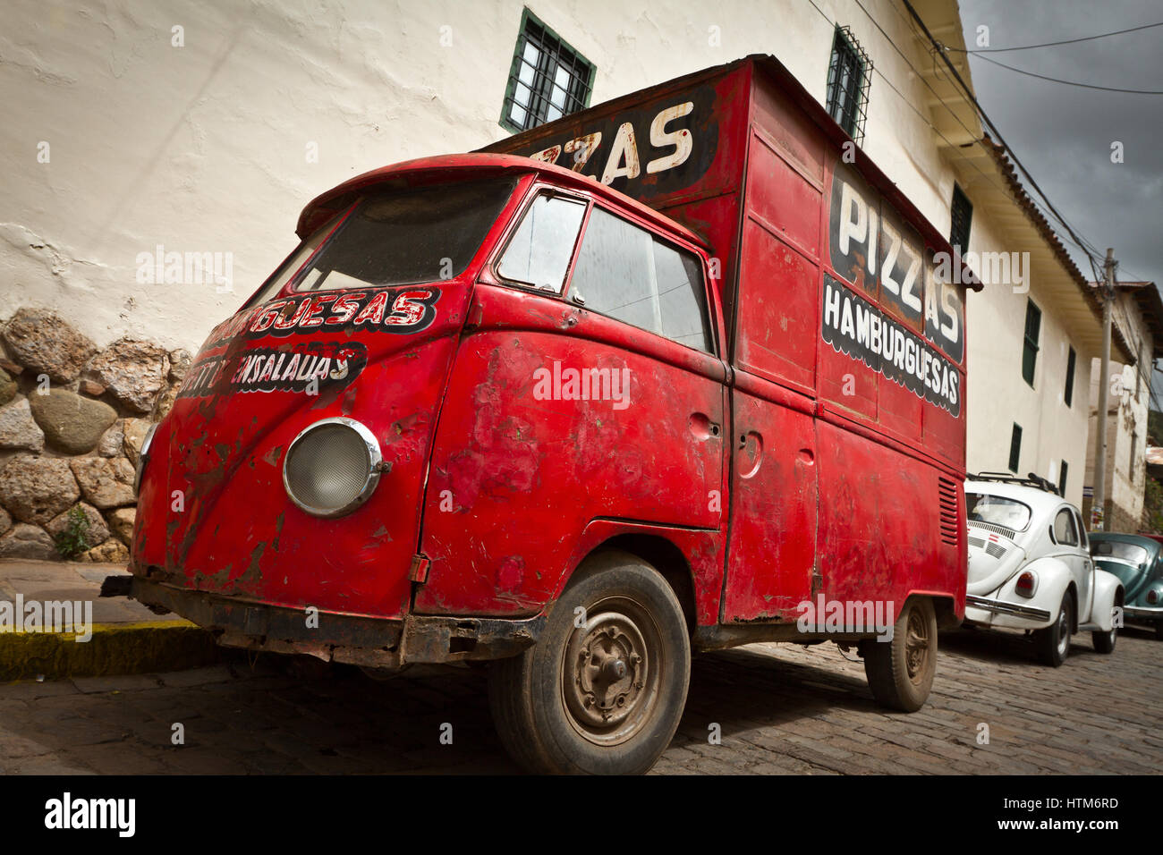 ea300e9453 Old vintage red Pizza van in Cuzco