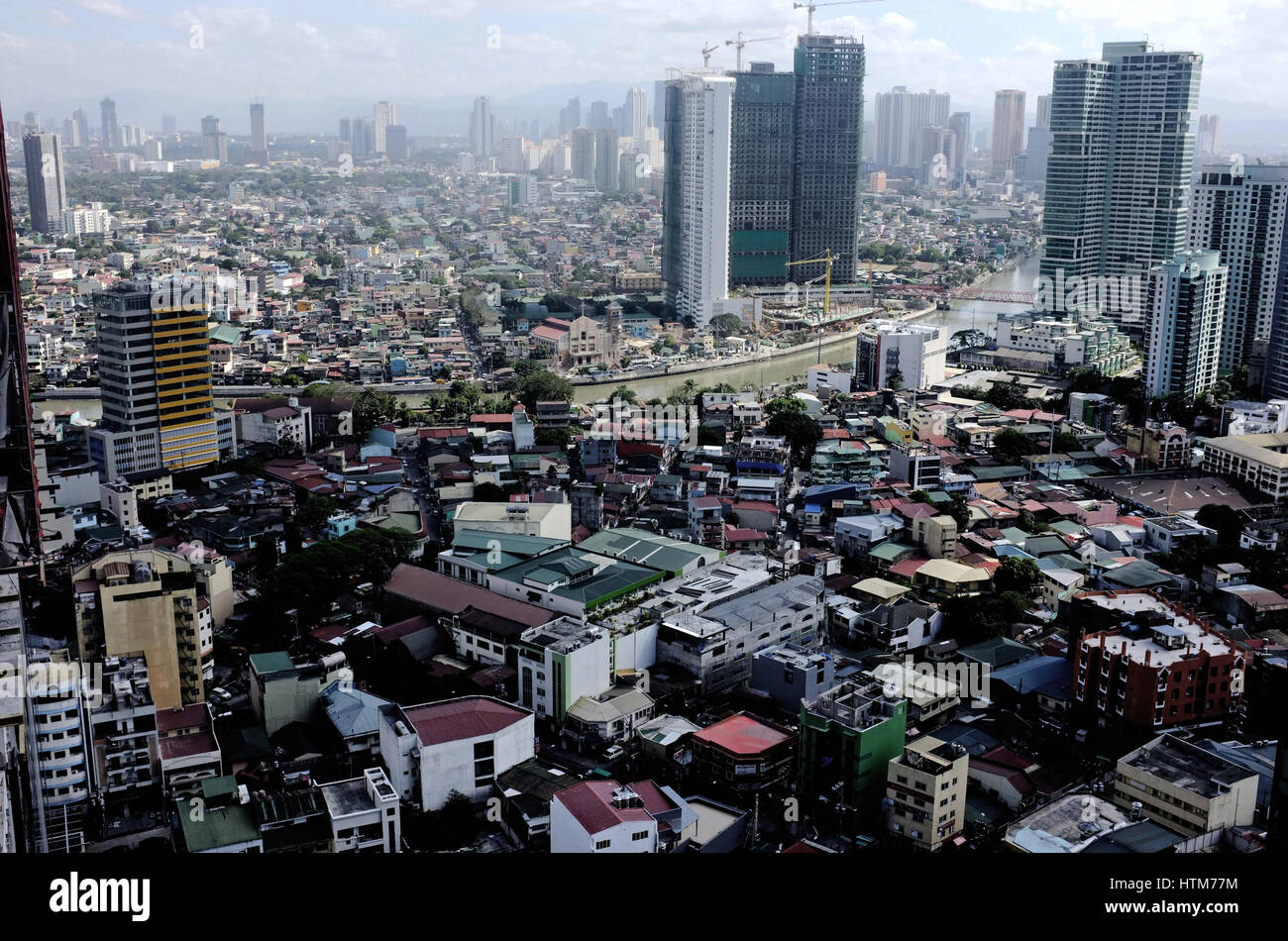 The skyline of Manila, the capital of the Philippines. - Stock Image