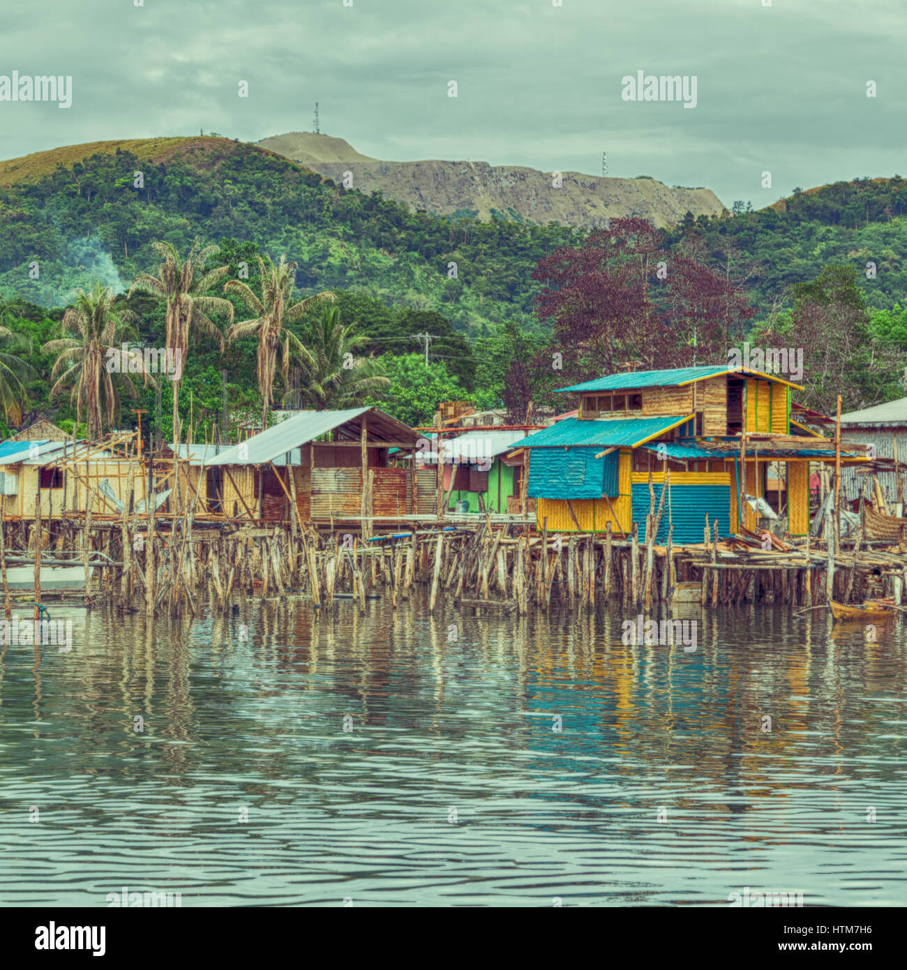 philippines house in the  slum for poor people concept of poverty and degradations - Stock Image