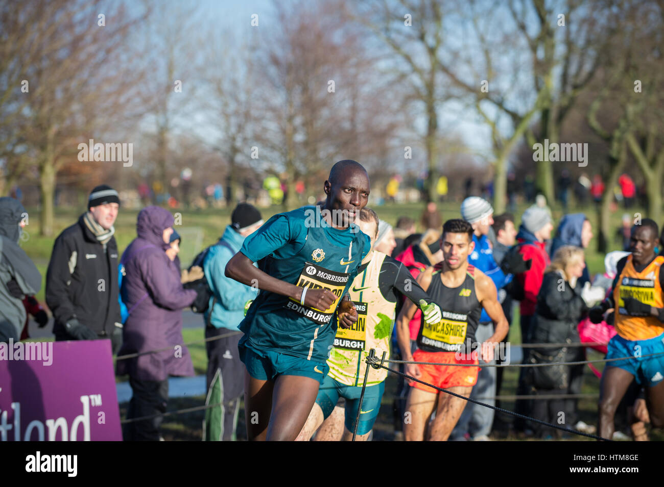 EDINBURGH, SCOTLAND, UK - January 10, 2015 - elite athletes compete in the Great Edinburgh Cross Country Run event, Stock Photo