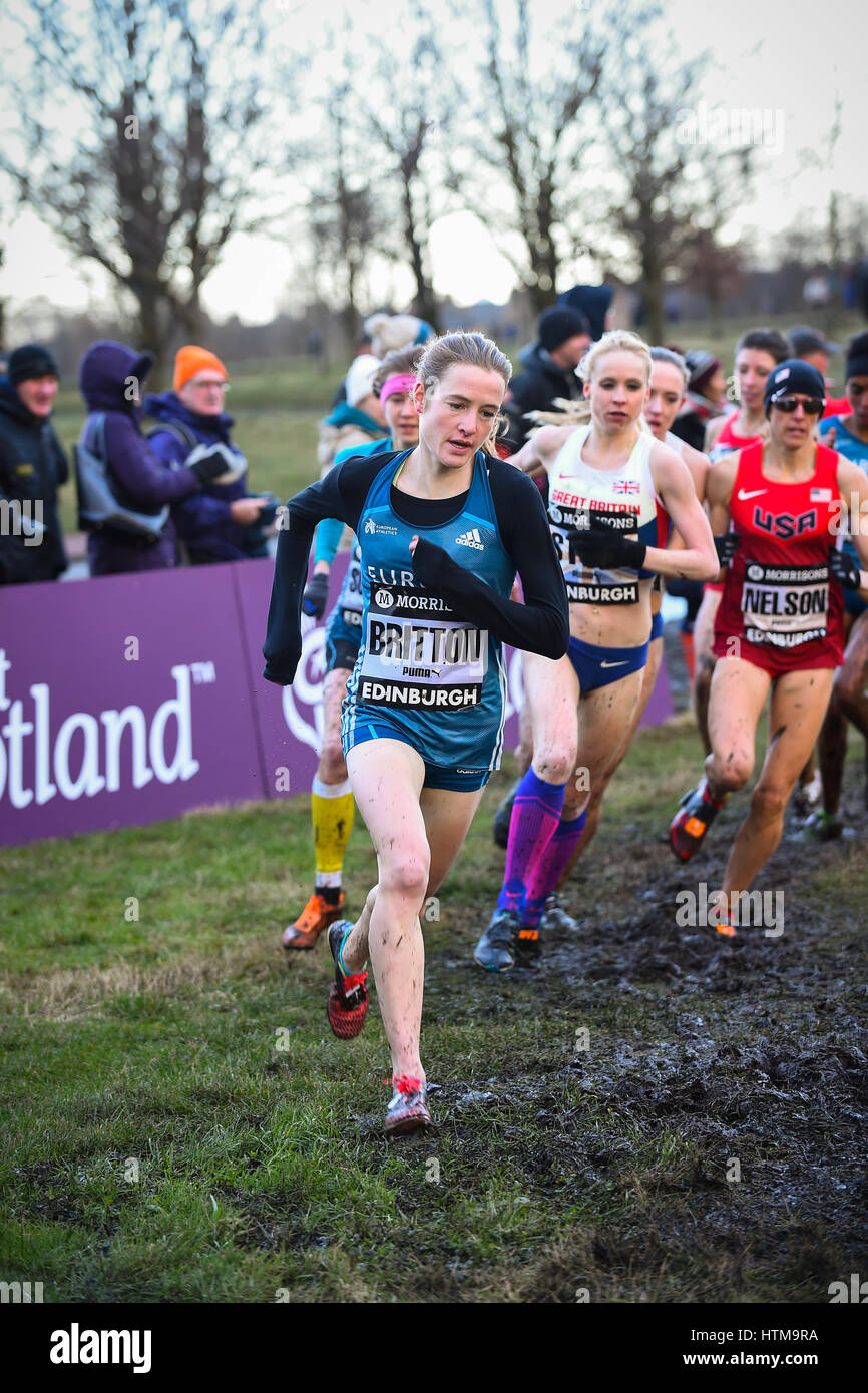 EDINBURGH, SCOTLAND, UK, January 10, 2015 - Fionnuala Britton leading the Woman's 6k race at the Great Edinburgh - Stock Image