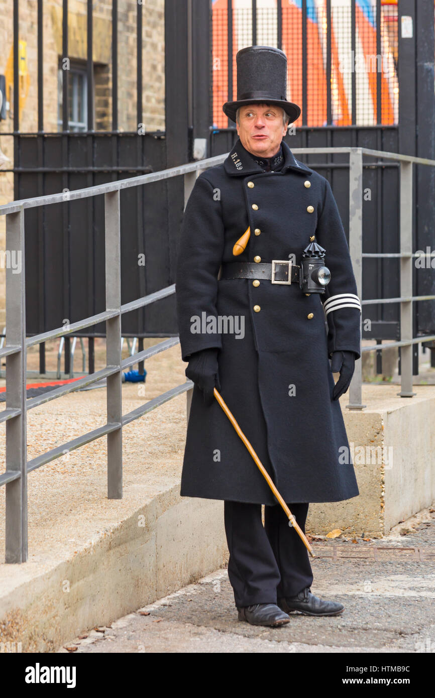 Man dressed in Victorian police uniform, known as bobbies ...