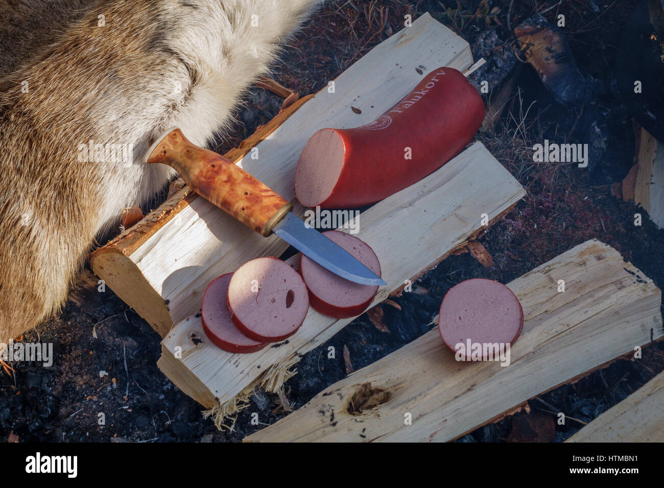 Traditional Reindeer Sausage, served outdoors, Lapland Guesthouse in Kangos, Lapland, Sweden