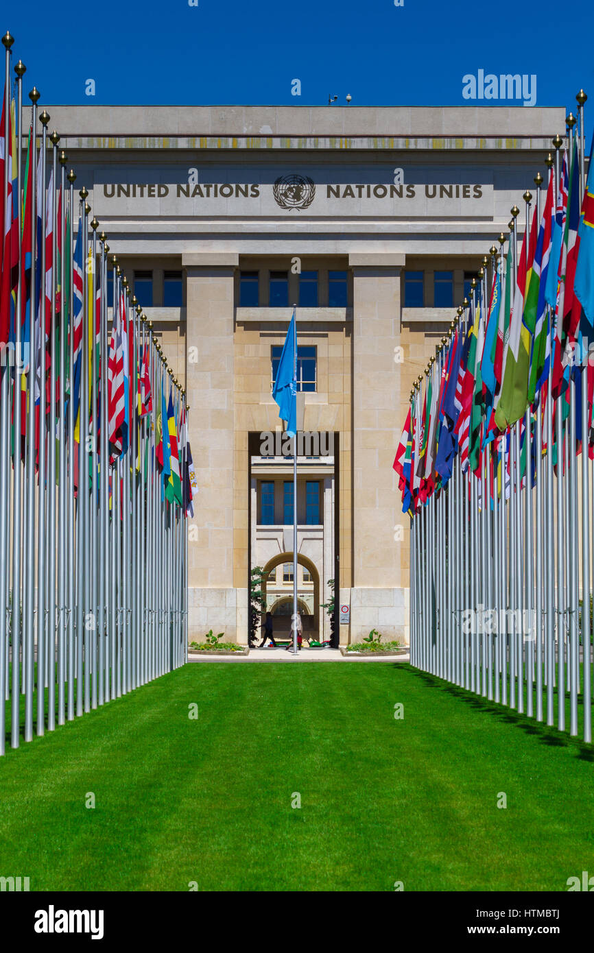 National flags at the entrance in UN office at Geneva, Switzerland - Stock Image