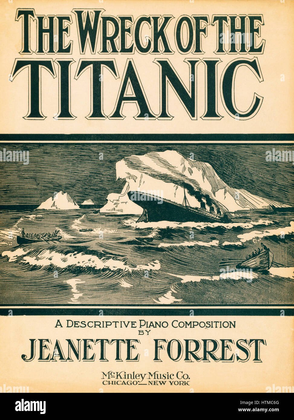 The Wreck of the Titanic, a descriptive piano composition by Jeanette Forrest. Published 1912. Scores of musical - Stock Image
