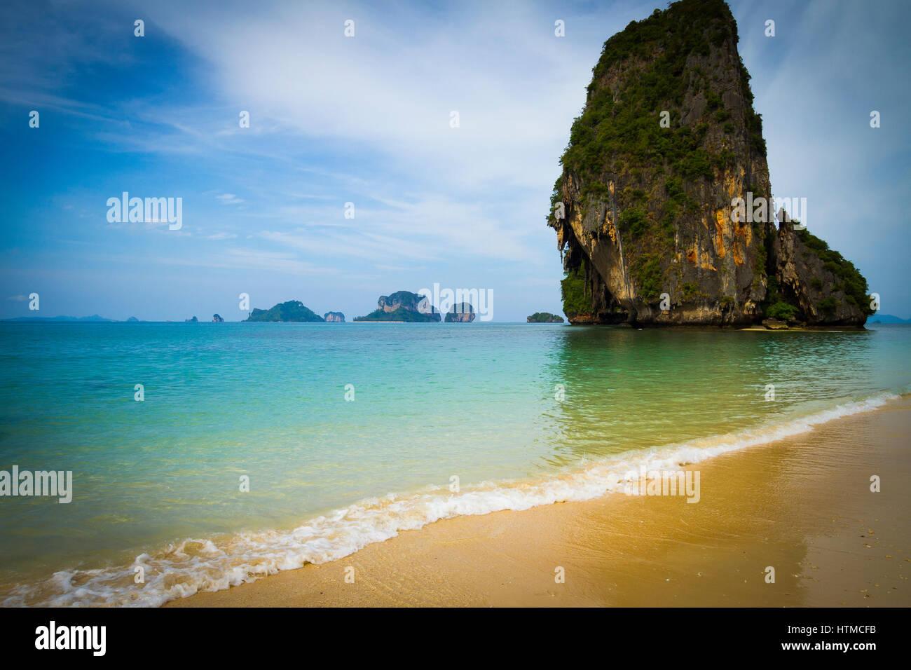 Koh Nok island and Pranang Cave Beach. Railay. Krabi province, Thailand. - Stock Image