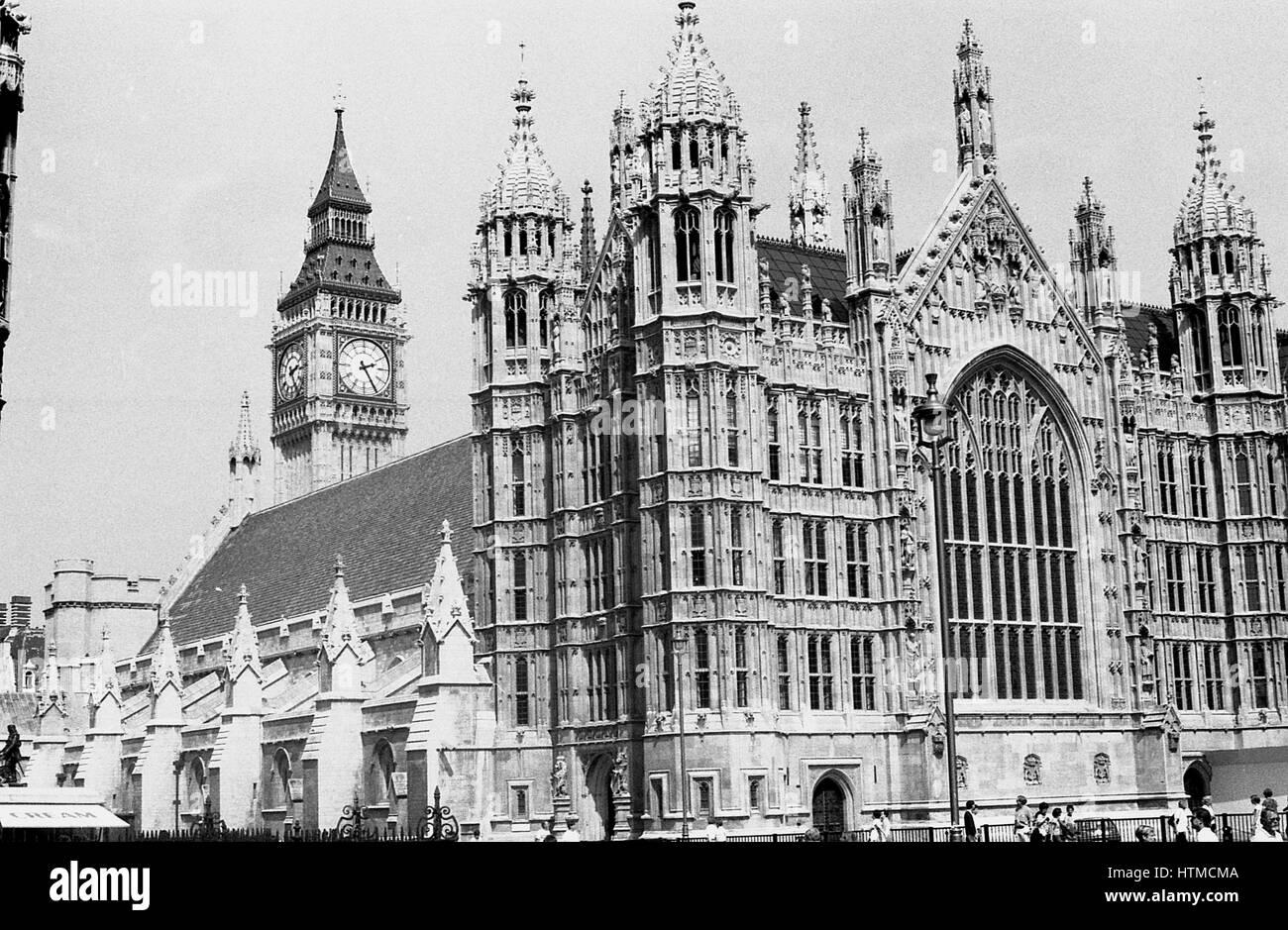 Exterior view of the Houses of Parliament at  Westminster in  London, England on August 5, 1989. - Stock Image