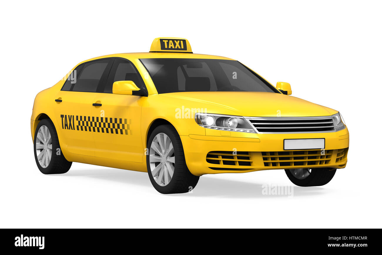 Yellow Taxi isolated on white background. 3D render Stock ...