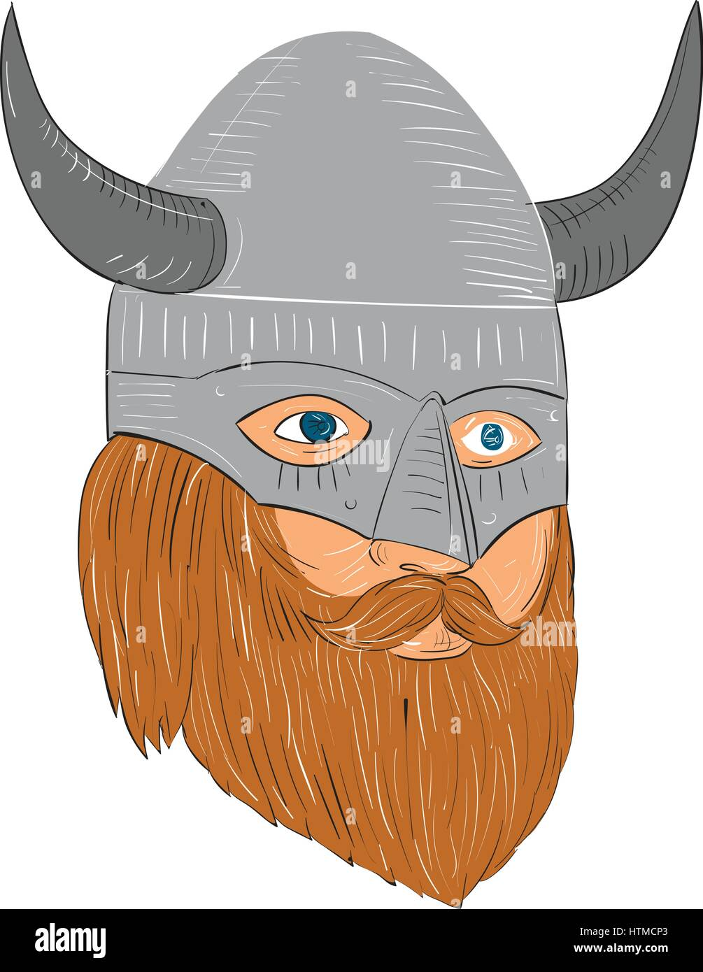 Drawing Sketch Style Illustration Of A Norseman Viking Warrior Raider Barbarian Head With Beard Wearing Horned Helmet Looking Slightly To The Side Set