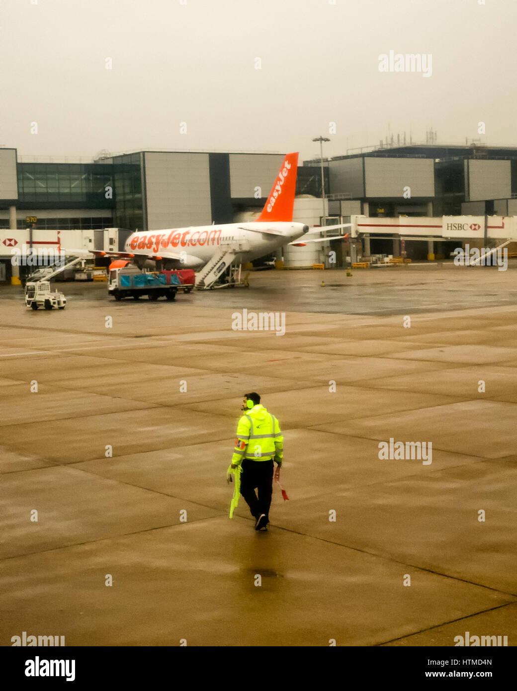London Gatwick. England UK.  EasyJet planes on London Gatwick airport runway preparing for take off.  Member of - Stock Image