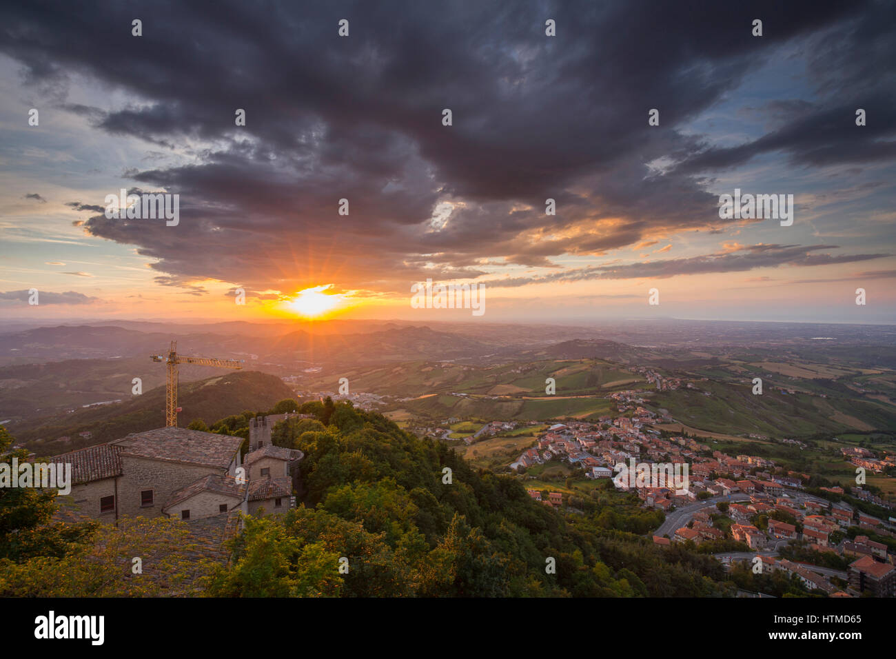San Marino, View from the Monte Titano during sunset - Stock Image