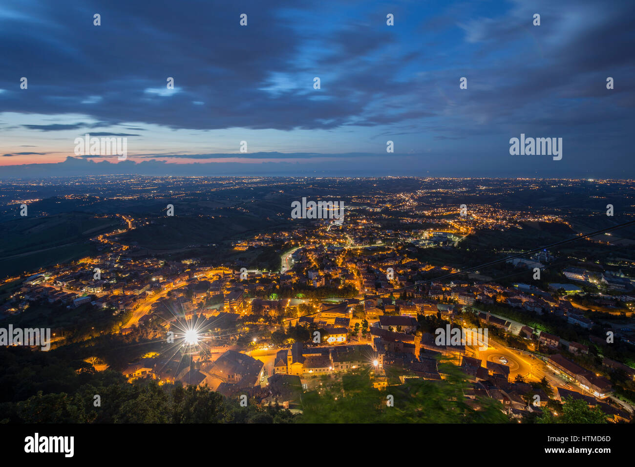 San Marino, View from the Monte Titano at night - Stock Image