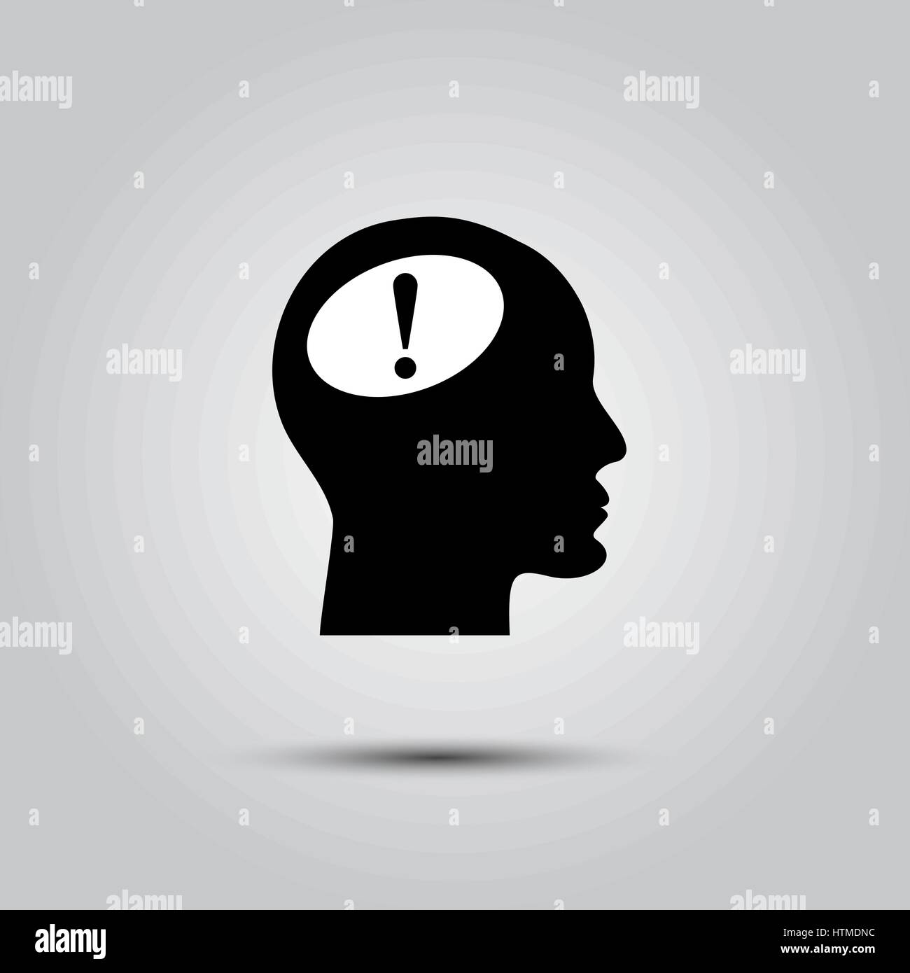 Human head with exclamation mark symbol on white Stock Vector