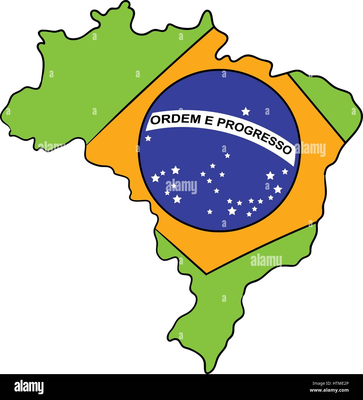 Brazil map and flag icon cartoon Stock Vector Art Illustration