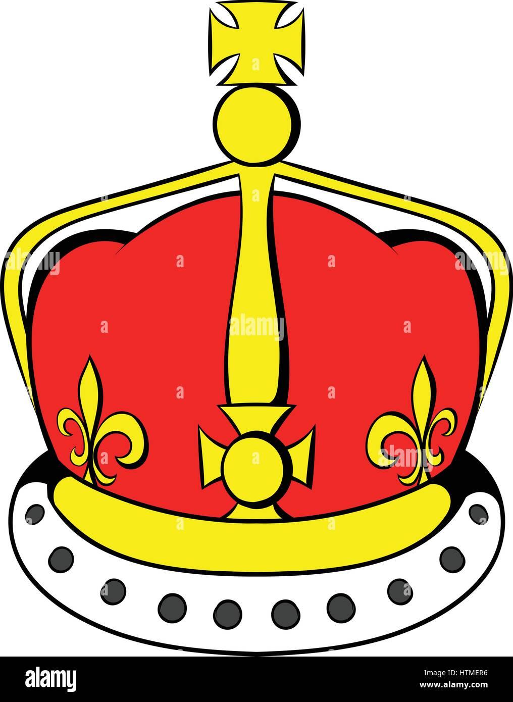 British crown icon cartoon - Stock Image