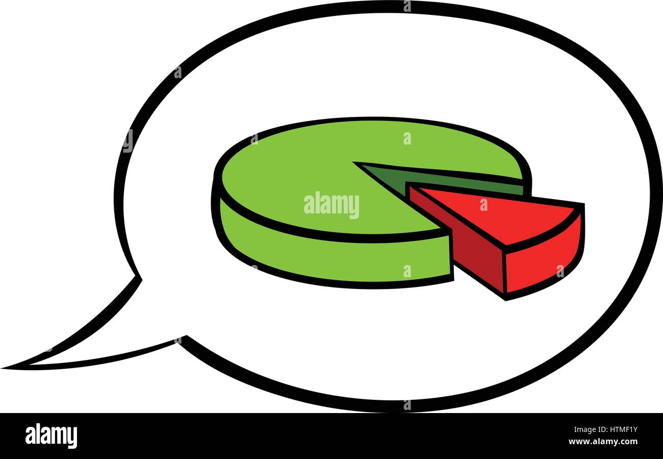speech bubble with a pie chart icon cartoon stock vector art
