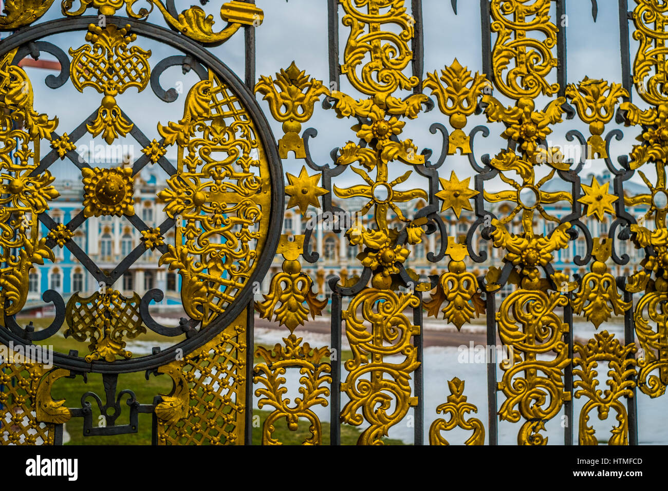 Gates of  Catherine palace in Tsarskoye Selo, Pushkin, Saint Petersburg - Stock Image
