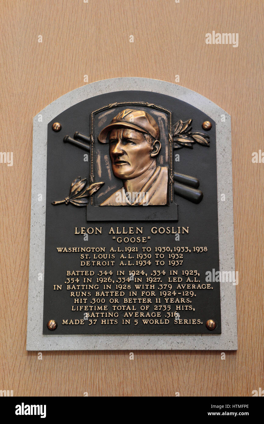 Memorial plaque for left fielder Goose Goslin in the Hall of Fame Gallery, National Baseball Hall of Fame & - Stock Image