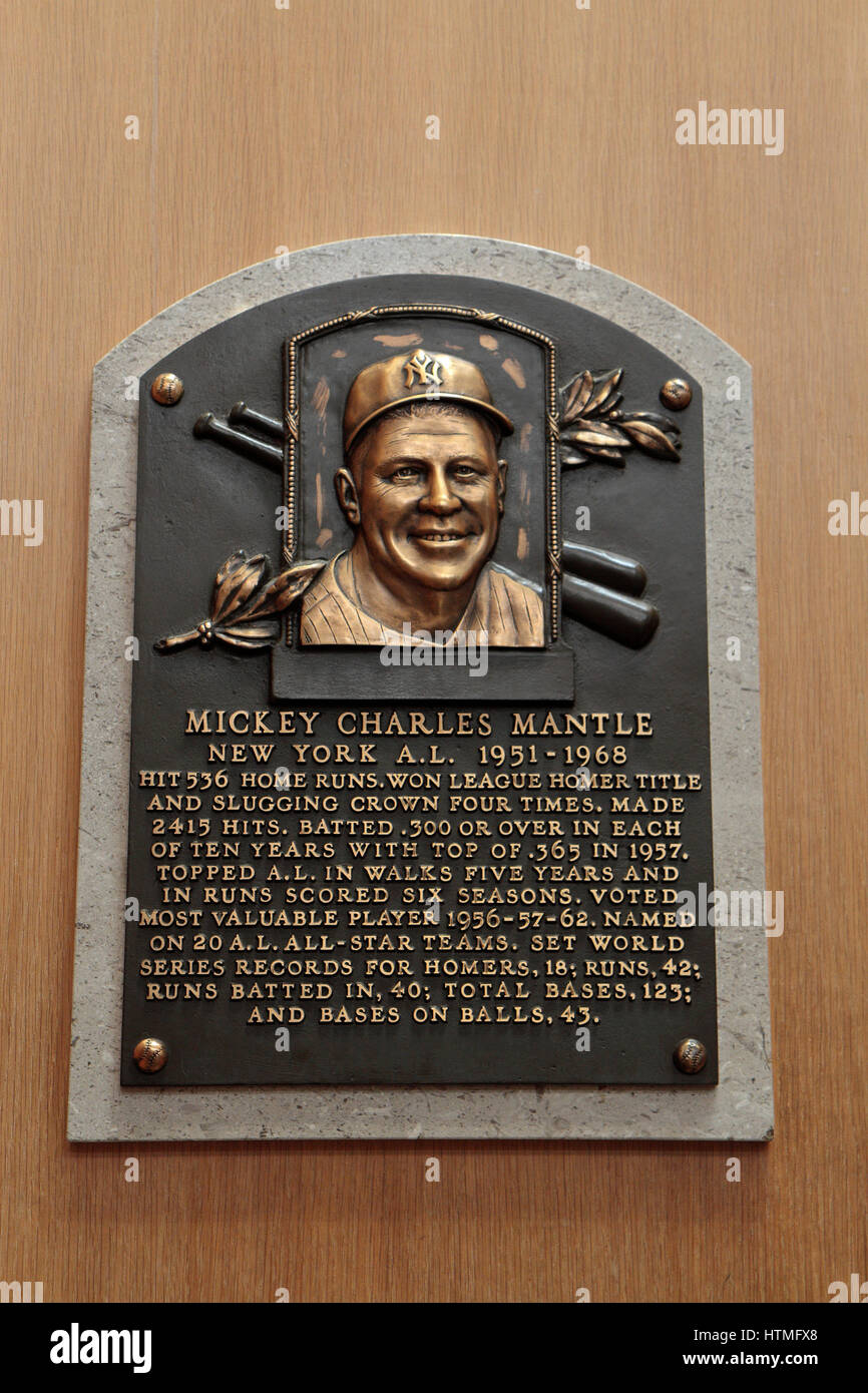 Memorial plaque for center fielder Mickey Mantle in the Hall of Fame Gallery, National Baseball Hall of Fame & - Stock Image
