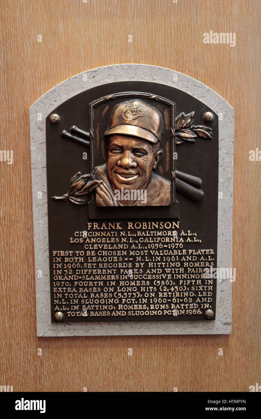 Memorial plaque for right fielder Frank Robinson  in the Hall of Fame Gallery, National Baseball Hall of Fame & - Stock Image