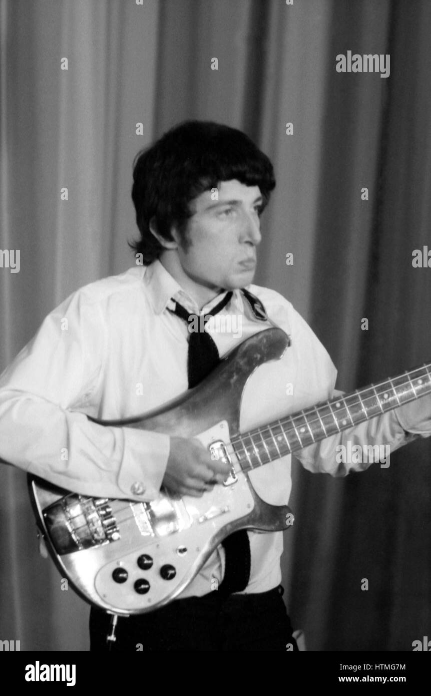 Pete Quaife, member of the British rock band The Kinks, on the stage of the Olympia Hall in Paris in 1964. Stock Photo