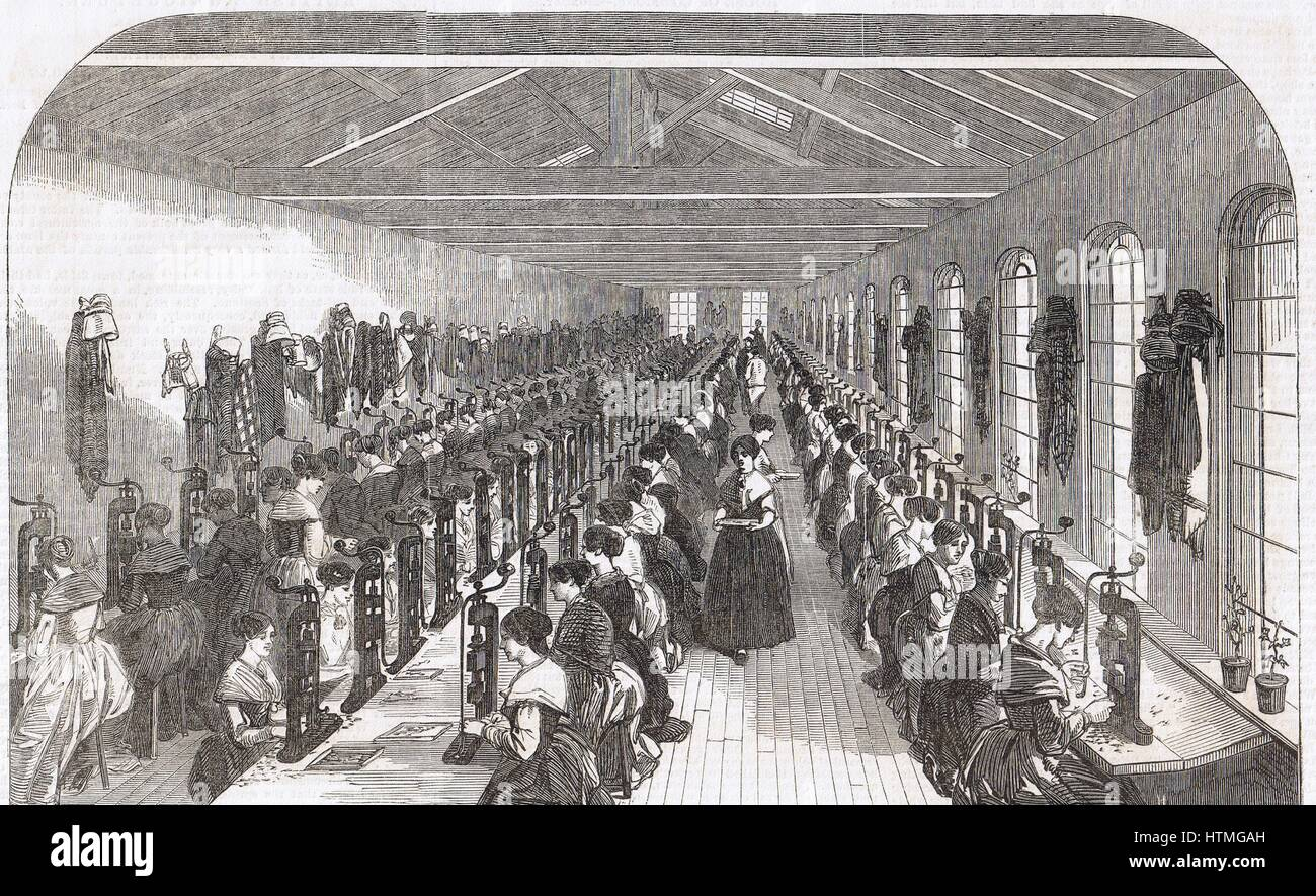 Pen slitting room, Hinks, Wells & Co., factory, Birmingham. From 'The Illustrated Midland News', 22 - Stock Image