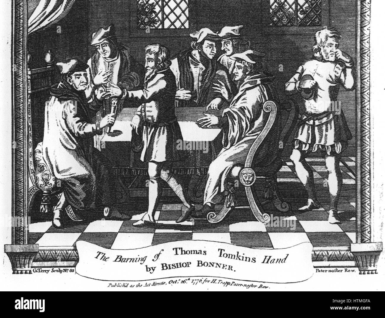 'The Burning of Thomas Tomkins Hand by Bishop Bonner'. Engraving from a 1776 edition of John Foxe 'The - Stock Image
