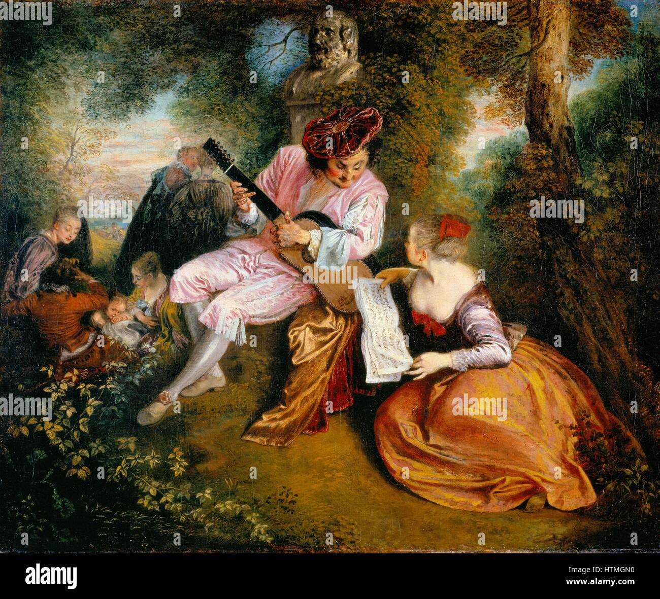 La Gamme d'Amour (The Scale of Love): In a wooded landscape a man in a velvet hat serenades a girl with his - Stock Image
