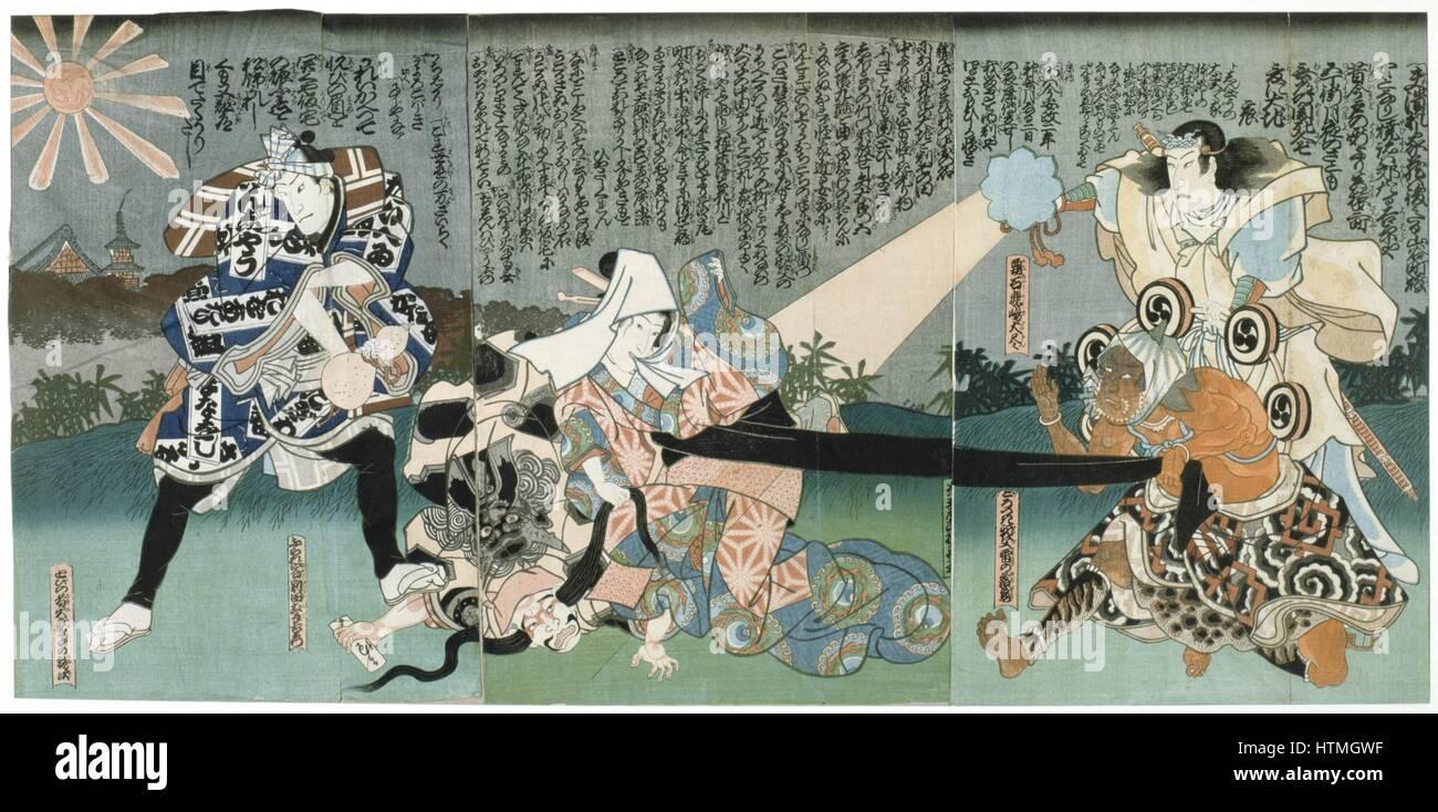 Kabuki theatre scene. Kabuki, a highly stylised Japanese dance-drama. Utagawa Kunisada (1786-1864) Japanese artist - Stock Image