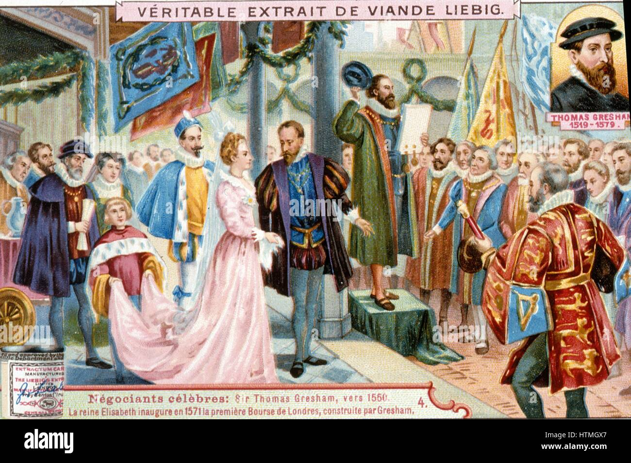 Elizabeth I inaugurating the first Royal Exchange, London, 1571. The Exchange was built by Thomas Gresham (1519 - Stock Image