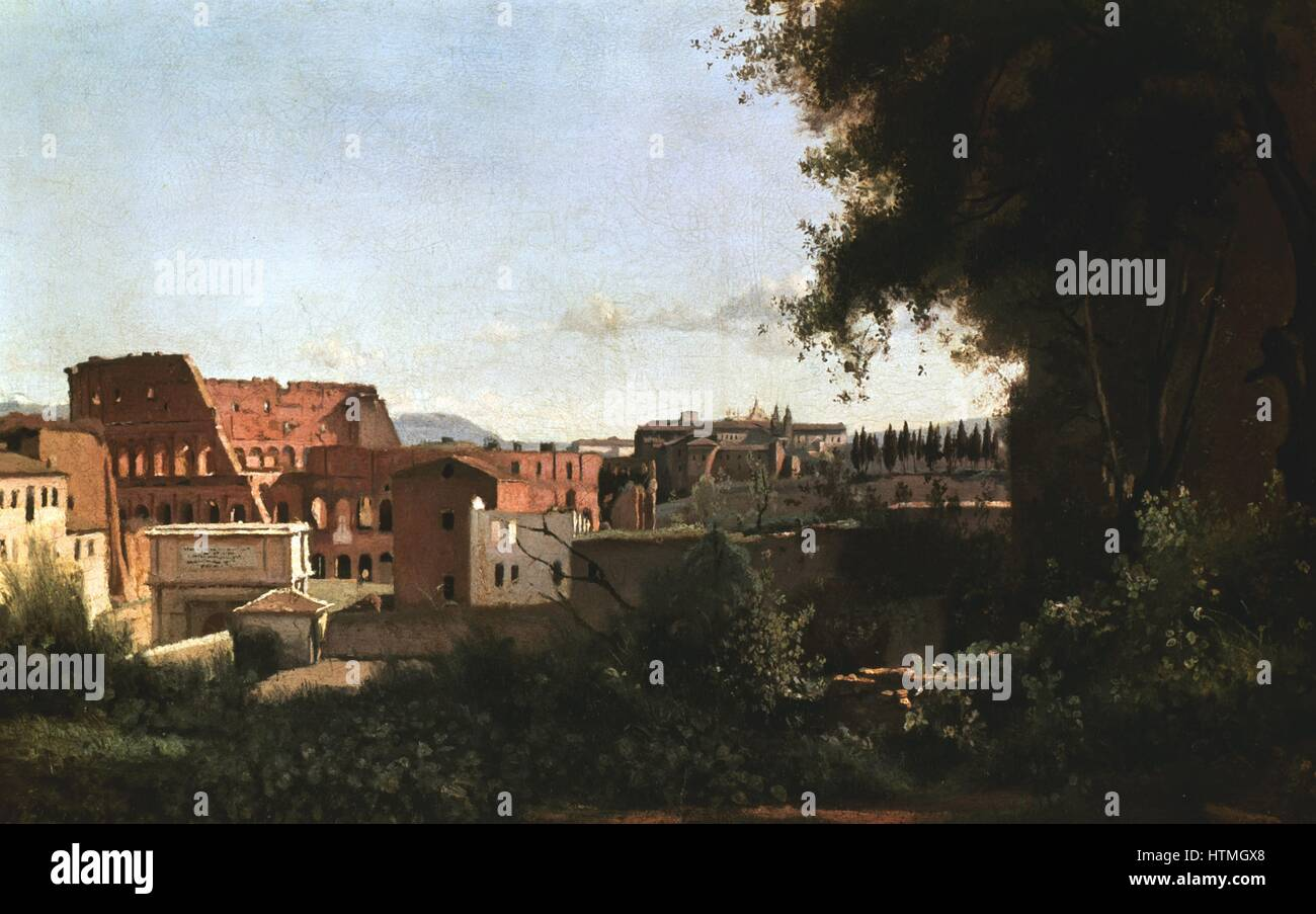 The Colosseum seen from the Farnese Gardens', 1826. Jean Baptiste Camille Corot (1796-1875) French painter, - Stock Image