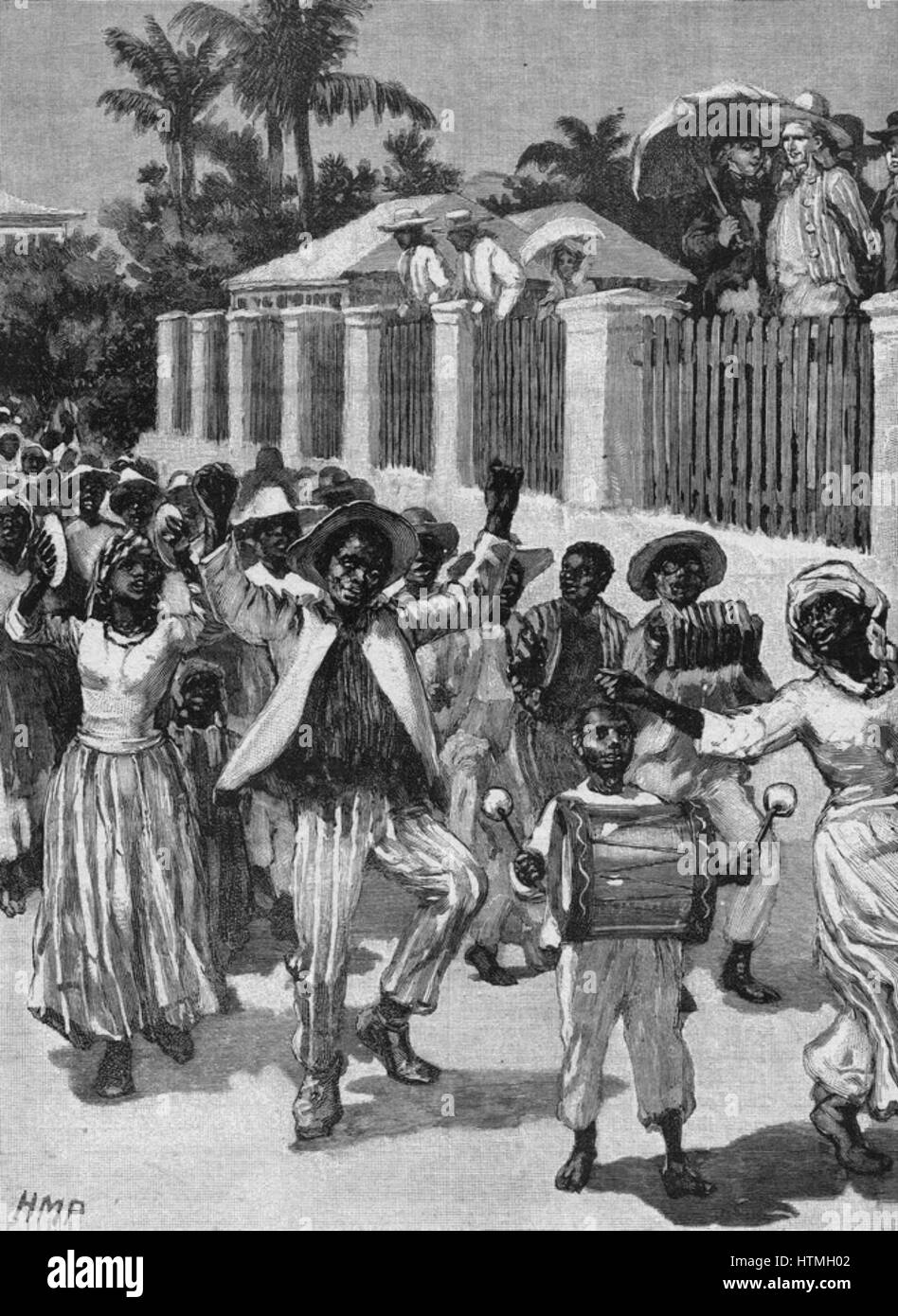 Abolition of slavery in British possessions on 1 August 1834. Emancipation festival in Barbados celebrating the - Stock Image
