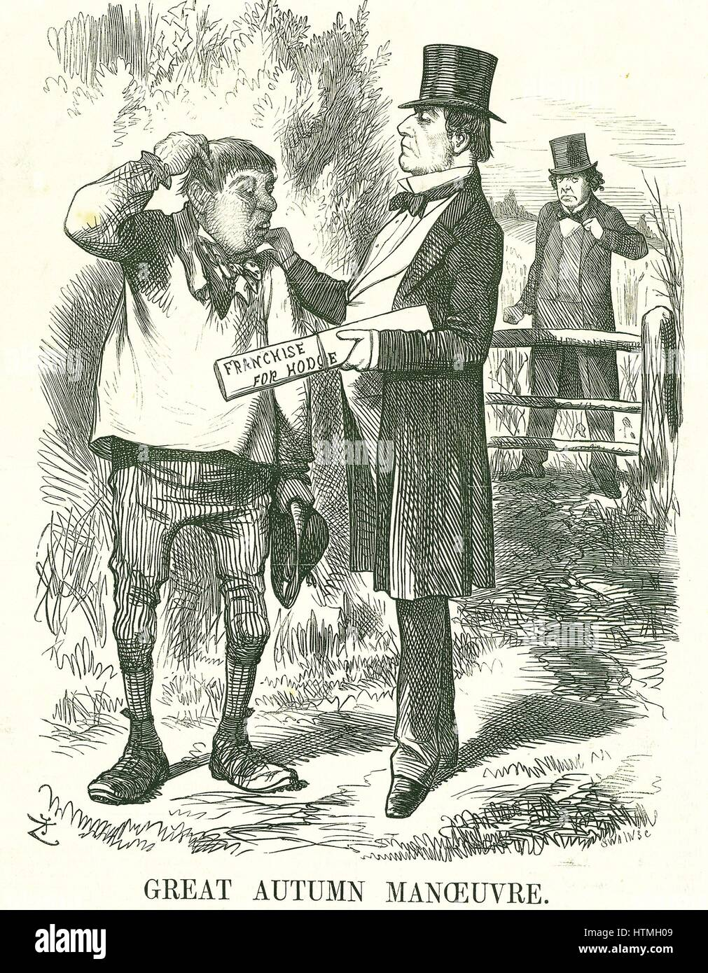 'Great Autumn Manoeuvre': Gladstone thought that eventually the vote must be given to agricultural labourers - Stock Image